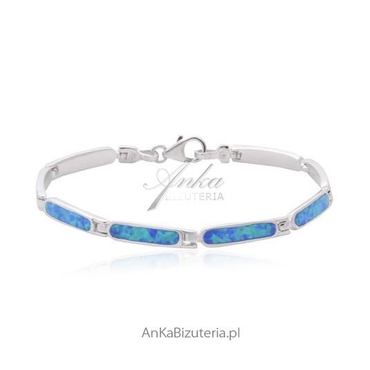 Bransoletka srebrna Niebieski opal