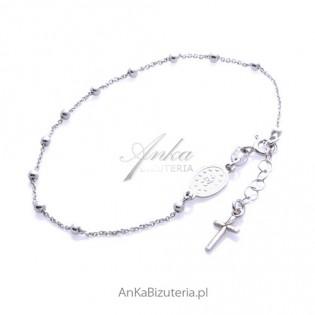 Bransoletka srebrna Różaniec z krzyżykiem i medalikiem