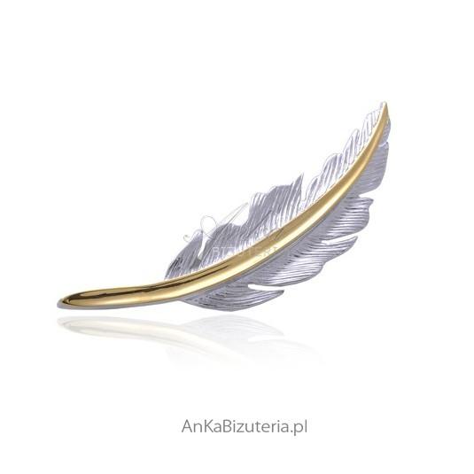 Broszka srebrna rodowana pozłacana - Piórko