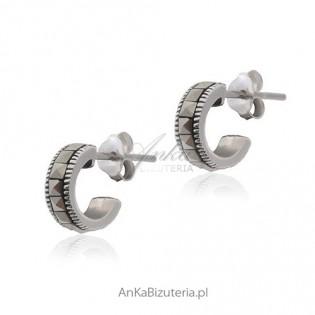 Kolczyki srebrne z markazytami Delikatne wkrętki