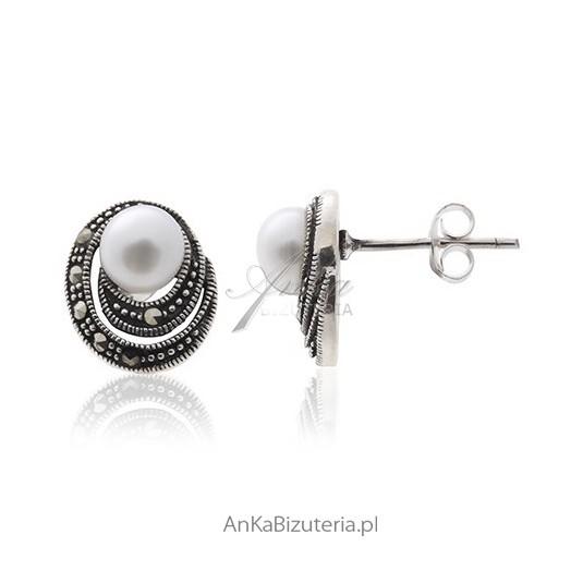 Kolczyki srebrne Kolczyki z perełkami i markazytami