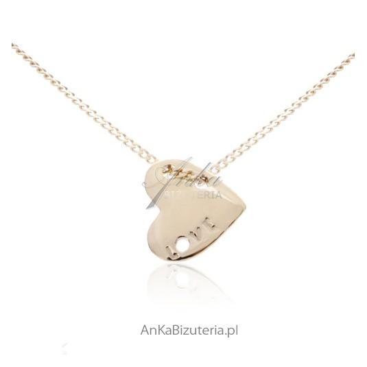 Delikatny łańcuszek srebrny pozłacany z przywieszką serduszkiem
