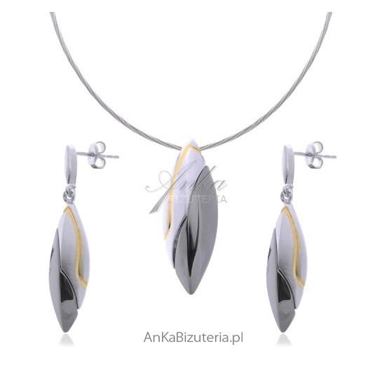 Komplet srebrny: rodowany rutenowany pozłacany