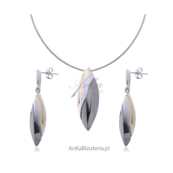 Komplet biżuterii rodowanej rutenowanej