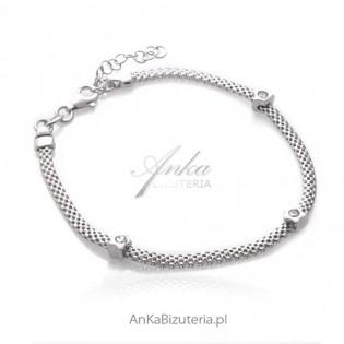 Bransoletka srebrna rodowana z cyrkoniami Włoska