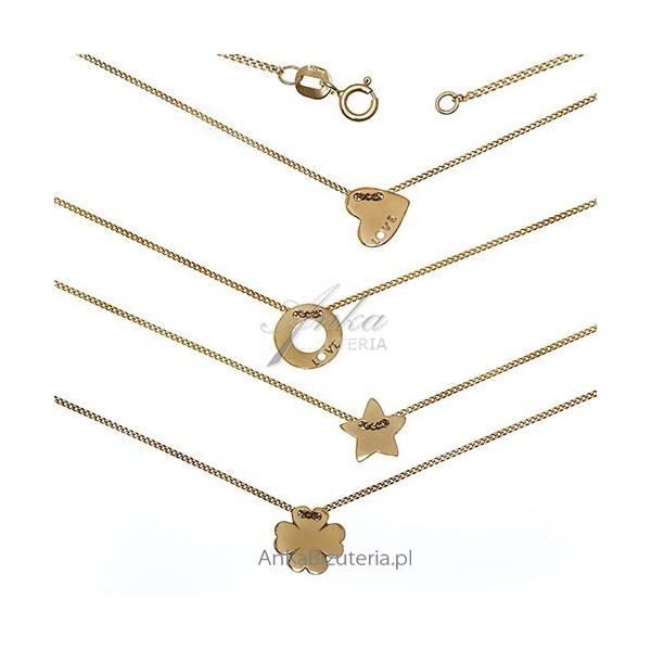Srebrny łańcuszek z zawieszką pozłacany - Biżuteria gwiazd