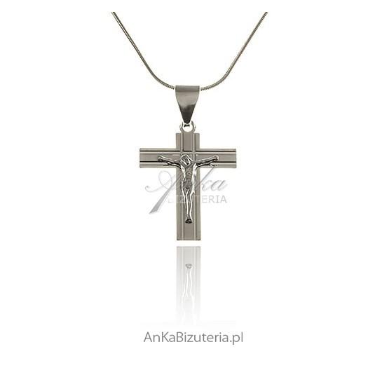 Krzyżyk srebrny diamentowany