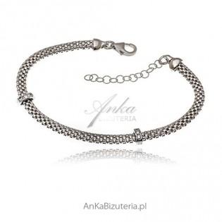Bransoletka srebrna rodowana z cyrkoniami Biżuteria włoska