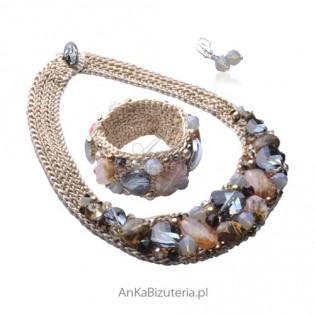 Biżuteria autorska - naszyjnik ,bransoletka z kolczykami Swarovski