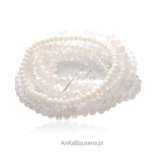 Zestaw pięknych bransoletek z białych kryształów