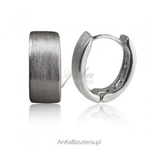 Kolczyki srebrne rodowane satynowane
